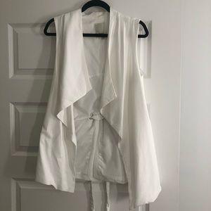 Anthropologie White Drapey Vest